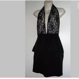 NWT! Platform Sexy Lace Overlay Black Dress Sz L